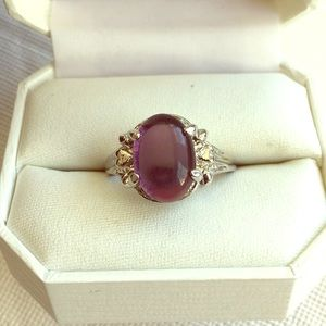 Silver and purple costume ring size 9.5